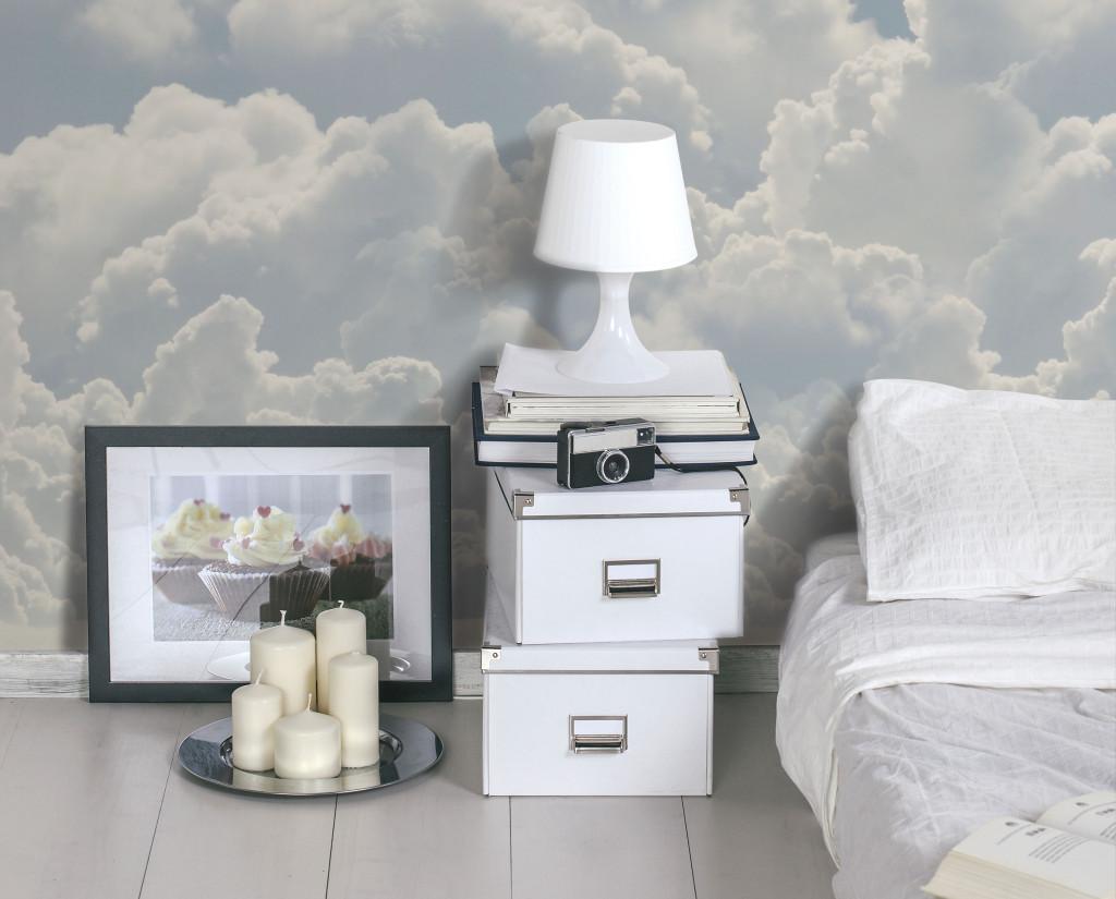 tappezzeria con nuvole per camera da letto